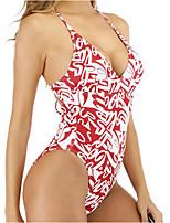 cheap -Women's One Piece Monokini Swimsuit High Waist Open Back Print Geometric Abstract Black Blue Red Fuchsia Swimwear Padded Strap Bathing Suits New Ethnic Vintage / Classic / Cross