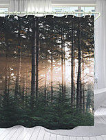cheap -Warm Sun Pine Digital Printing Shower Curtain Shower Curtains Hooks Modern Polyester New Design