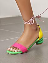 cheap -Women's Sandals Cuban Heel Open Toe PU Lace-up Color Block Yellow Peach Blue