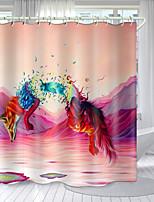 cheap -Red Fox Digital Printing Shower Curtain Shower Curtains  Hooks Modern Polyester New Design