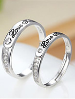 cheap -Ring Cubic Zirconia Mismatched Silver Copper Silver-Plated Letter Stylish Artistic Simple 1pc Adjustable / Couple's / Open Cuff Ring / Adjustable Ring