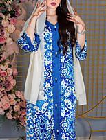 cheap -Women's Kaftan Dress Maxi long Dress Blue Long Sleeve Print Solid Color Patchwork Summer Round Neck Casual 2021 S M L XL XXL