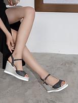 cheap -Women's Sandals Wedge Heel Peep Toe PU Synthetics Black Gold Silver