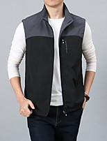 cheap -Men's Hiking Vest / Gilet Fishing Vest Sleeveless Vest / Gilet Jacket Top Outdoor Quick Dry Lightweight Breathable Sweat wicking Autumn / Fall Spring Summer Black / grey Hunting Fishing Climbing