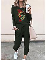 cheap -Women Basic Streetwear Print Vacation Casual / Daily Two Piece Set Tracksuit T shirt Pant Loungewear Jogger Pants Drawstring Print Tops