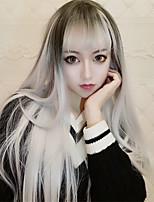 cheap -New Two-dimensional Anime Harajuku Air Bangs Black Gradient White Black Gradient Gray Long Straight Hair Cosplay Anime Wig