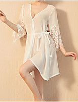 cheap -Women's Mesh Lace Sexy Lingerie Nightwear Patchwork Solid Colored White / Black / Beige One-Size