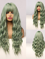 cheap -Long Mix Green Water Wave Synthetic Wigs for Women Lolita Cospaly Colorful Wig With Bangs Party Heat Resistant Fibre
