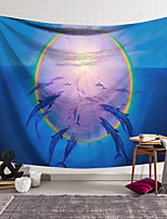 cheap -Wall Tapestry Art Decor Blanket Curtain Hanging Home Bedroom Living Room Decoration Polyester Dolphins Gather in the Sun Halo