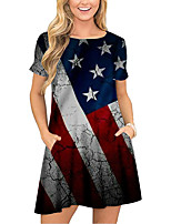 cheap -Women's T Shirt Dress Tee Dress Short Mini Dress Blue Short Sleeve Print Flag Pocket Print Spring Summer Round Neck Casual 2021 S M L XL XXL 3XL