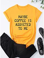 preiswerte -Damen T-Shirt Grafik Druck Rundhalsausschnitt Oberteile 100% Baumwolle Grundlegend Basic Top Weiß Schwarz Blau