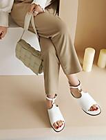 cheap -Women's Sandals Flat Heel Peep Toe PU Synthetics White Black Pink