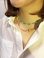 cheap -Women's Girls' Choker Necklace Necklace Classic Laugh Simple Fashion Classic Modern Acrylic Glass Alloy Rainbow 40 cm Necklace Jewelry 1pc For Christmas Prom Birthday Party Beach Festival