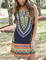 cheap -2016 aliexpress ebay new slim retro dress temperament printing round neck sleeveless commuter light mature women