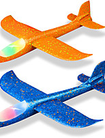 cheap -2 Pack LED Light Airplane 17.5 Inch Large Throwing Foam Plane 2 Flight Mode Glider Plane Flying Toy for Kids Gifts for 3 4 5 6 7 8 9 Years Old Boy Outdoor Sport Toys Birthday Party Favors Foam Airplane