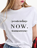 cheap -Women's T shirt Letter Print Round Neck Tops 100% Cotton Basic Basic Top White Black Blue