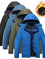 cheap -Men's Hiking Jacket Ski Jacket Winter Outdoor Solid Color Thermal Warm Windproof Breathable Comfortable Hoodie Winter Jacket Top Fleece Camping / Hiking Ski / Snowboard Fishing Black Army Green Blue