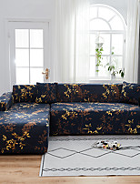 cheap -Luxury Dark Blue Floral Dustproof All-powerful  Stretch L Shape Sofa Cover Super Soft Fabric Sofa Furniture Protector with One Free Boster Case
