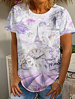 cheap -Women's T shirt Floral Graphic Scenery Print Round Neck Tops Basic Basic Top White