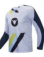 cheap -CAWANFLY Men's Long Sleeve Downhill Jersey with Pants Dirt Bike Jersey Winter Blue / White Novelty Funny Bike Tee Tshirt Jersey Top Mountain Bike MTB Road Bike Cycling Breathable Sports Clothing