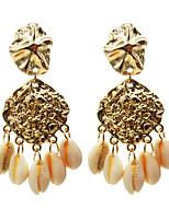 cheap -Women's Hoop Earrings Tassel Fringe Shell Stylish Boho Earrings Jewelry Gold For Party Wedding 1 Pair