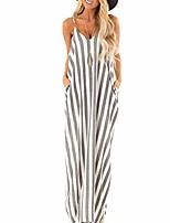 cheap -Women's Strap Dress Maxi long Dress Black Blue Blushing Pink Gray Sleeveless Solid Color Spring Summer Casual / Daily 2021 S M L XL