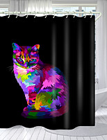 cheap -Color Kitten Digital Printing Shower Curtain Shower Curtains  Hooks Modern Polyester New Design