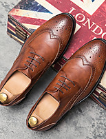 cheap -Men's Oxfords Printed Oxfords Business Vintage Classic Daily Party & Evening Nappa Leather Cowhide Non-slipping Wear Proof Booties / Ankle Boots Black Brown Spring Summer