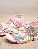 cheap -Girls' Sandals Comfort Flower Girl Shoes Princess Shoes Rubber PU Little Kids(4-7ys) Big Kids(7years +) Daily Home Walking Shoes Pink Green Spring Summer
