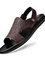 cheap -Men's Sandals Leather Shoes Flat Sandals Casual Classic Beach Daily Outdoor Nappa Leather Cowhide Breathable Non-slipping Wear Proof Booties / Ankle Boots Black Brown Spring Summer