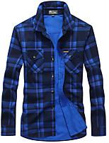 cheap -Men's Hiking Shirt / Button Down Shirts Fishing Shirt Long Sleeve Jacket Shirt Top Outdoor Quick Dry Lightweight Breathable Sweat wicking Autumn / Fall Spring Summer Green grid Lange Fishing Climbing