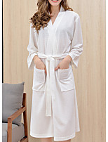 cheap -Women's Lace up Robes Nightwear Solid Colored White / Blue / Purple M XL XXL