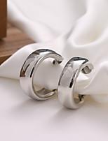 cheap -s925 silver big ear hoop metal earrings metallic mirror earrings simple