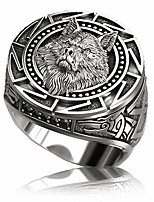 cheap -slavic wolf ring for men, norse viking nordic wolf head ring, retro wolf totem rings, wolf signet rings, amulet ring, animal wolf jewelry for men boys (q)
