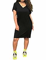cheap -yimishion women's summer casual t shirt dresses v-neck short sleeve mid-length dress pockets black