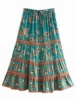 cheap -Women's Holiday Vacation Vintage Boho Skirts Floral Graphic Ruffle Print Blue Green