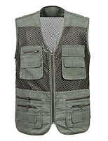 cheap -Men's Hiking Vest / Gilet Fishing Vest Sleeveless Vest / Gilet Jacket Top Outdoor Quick Dry Lightweight Breathable Sweat wicking Autumn / Fall Spring Summer Army Green Beige Gray Hunting Fishing