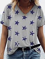 cheap -Women's T shirt Graphic Print V Neck Tops Basic Basic Top White Gray