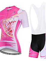cheap -CAWANFLY Women's Short Sleeve Cycling Padded Shorts Cycling Jersey with Bib Shorts Cycling Jersey with Shorts Spandex Pink+White Pink Pink / Black Bike Shorts Breathable Sports Geometic Mountain Bike