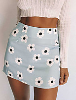 cheap -Women's Homecoming Vacation Party Streetwear Skirts Floral Graphic Print Blushing Pink Light Blue