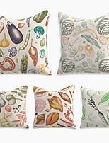 cheap -Cushion Cover 5PC Linen Soft Decorative Square Throw Pillow Cover Cushion Case Pillowcase for Sofa Bedroom 45 x 45 cm (18 x 18 Inch) Superior Quality Machine Washable Double Side Print Farm Vegeteable