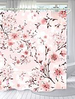 cheap -Pink Peach Blossom Digital Printing Shower Curtain Shower Curtains Hooks Modern Polyester New Design