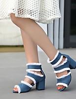 cheap -Women's Sandals Chunky Heel Peep Toe PU Synthetics Black Blue Gray