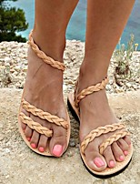 cheap -Women's Sandals Boho Bohemia Beach Flat Heel Round Toe PU Solid Colored Blue Orange