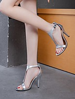 cheap -Women's Sandals Stiletto Heel Round Toe PU Synthetics White Black Silver
