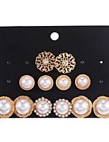 cheap -6 pairs of pearl earrings set, elegant temperament, simple wild earrings  female