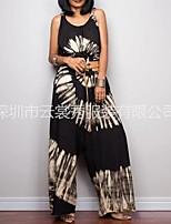 cheap -2021 amazon aliexpress tie-dye print wide-leg belt loose jumpsuit
