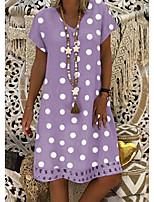 cheap -Women's A Line Dress Knee Length Dress Black Blue Purple Red Yellow Orange Khaki Green Dark Gray Light Green Short Sleeve Polka Dot Print Summer V Neck Elegant 2021 S M L XL XXL 3XL 4XL 5XL