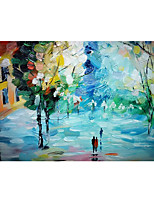 cheap -IARTS Hand Painted Quiet streets Oil Painting   with Stretched Frame For Home Decoration
