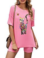 cheap -Women's Basic Streetwear Cat Butterfly Heart Vacation Casual / Daily Two Piece Set Tracksuit T shirt Loungewear Biker Shorts Print Tops
